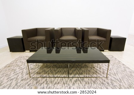armchairs in a waiting room - stock photo