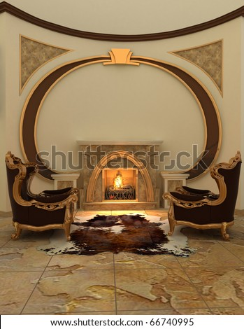 Armchairs near fireplace in modern interior. Warm - stock photo