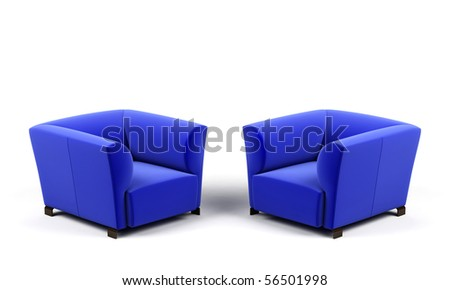 Armchairs on a white background. - stock photo