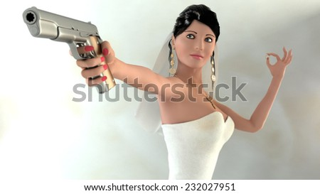 Armed Bride with wedding ring. - stock photo