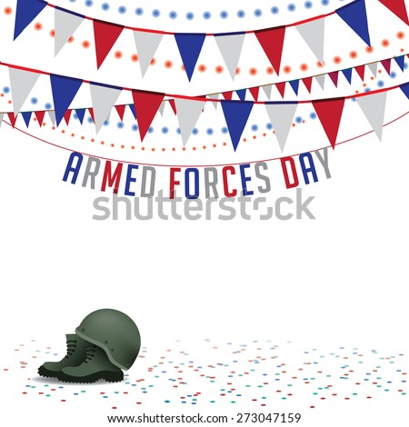 Armed Forces Day bunting background royalty free stock illustration for greeting card, ad, promotion, poster, flier, blog, article, social media, marketing - stock photo
