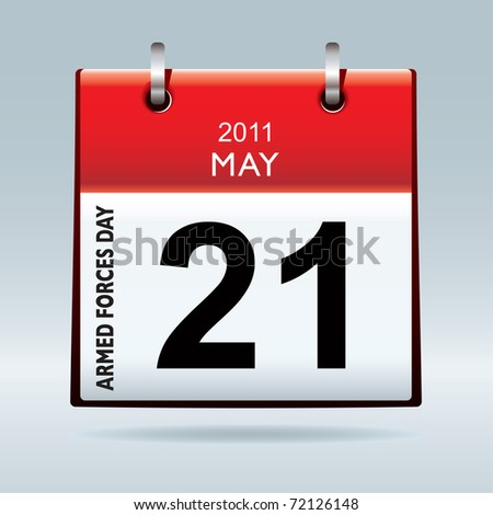 Armed forces day calendar icon on blue background and red top