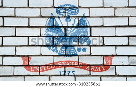 Armed Forces of the United States flag painted on old brick wall texture background - stock photo