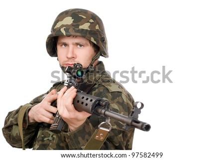 Armed man holding svd in studio. Closeup - stock photo
