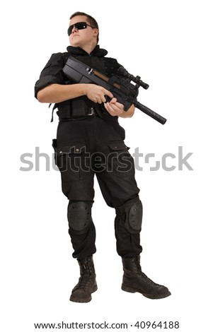Armed man in NATO uniform with the P90 machine gun. Isolated on white. - stock photo