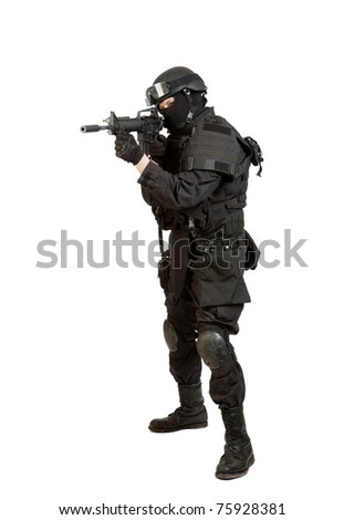 Armed man in protective cask with M4 rifle (with muffler). Isolated on white background - stock photo