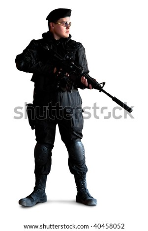 Armed man with the M4 rifle (with muffler). Isolated on white. - stock photo