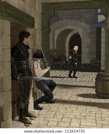 Armed men waiting for their victim in a Medieval or fantasy alley, 3d digitally rendered illustration