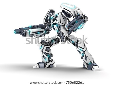 Armed robot in aggressive pose with weapons and protective ammunition.  3D illustration