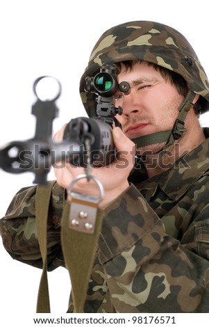 Armed soldier with svd in studio. Isolated - stock photo