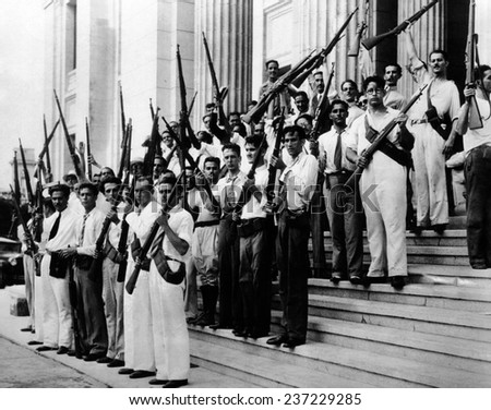 Armed students at the University of Havana on Sept 15 1933. - stock photo