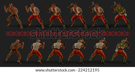 Armed ukrainian cossack in armor - stock photo