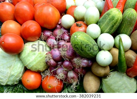 Armed vegetables - stock photo