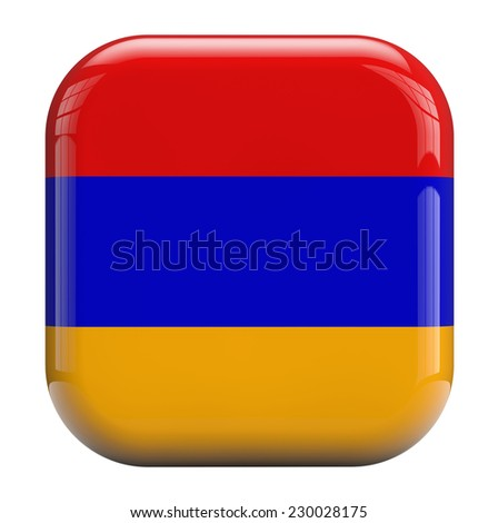 Armenia flag square icon image isolated on white. Clipping path included. - stock photo