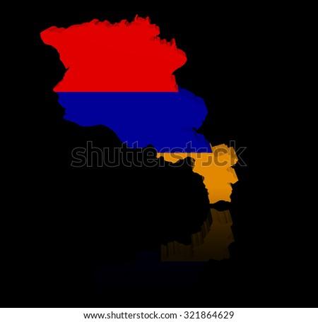 Armenia map flag with reflection illustration - stock photo