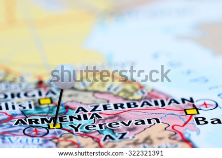 Armenia pinned on a map of Asia  - stock photo