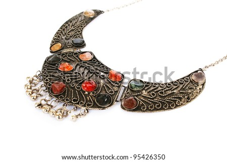 Armenian ancient style necklace isolated on white background. - stock photo