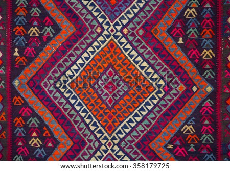 Armenian Carpet Detail With Traditional Ornaments And Patterns