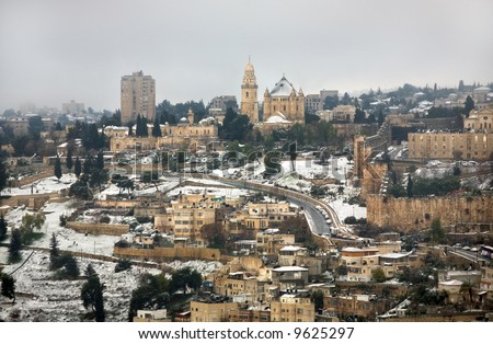 Armenian church in the old city of Jerusalem in snow. - stock photo