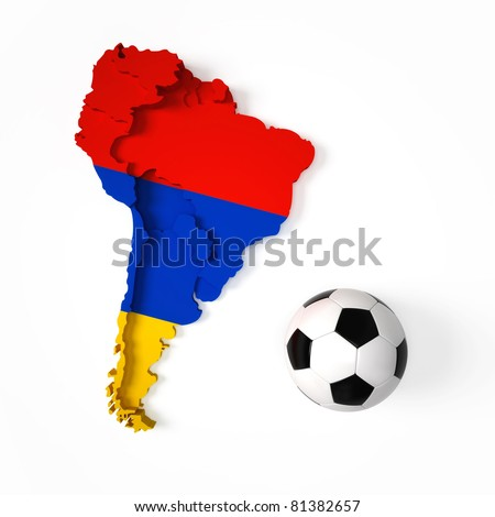 Armenian flag on South American map