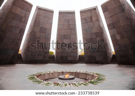 Armenian Genocide memorial, the Armenia's official memorial dedicated to the victims of the Armenian Genocide - stock photo