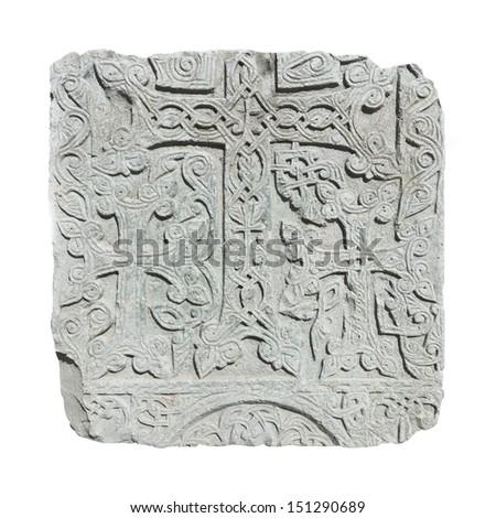 Armenian medieval cross stone on the peninsula Sevan isolated on white - stock photo