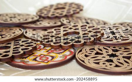 Armenian Ornament Wooden Coasters - stock photo