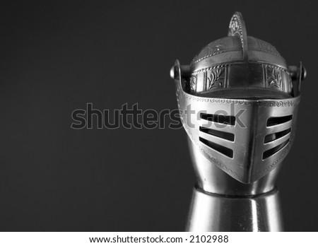 armor helmet on black - stock photo