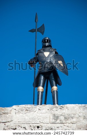 Armor knight in the castle of the knights in old town of Rhodes, Greece - stock photo