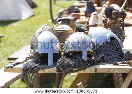 Armor knight Medieval, helmets and sword. - stock photo
