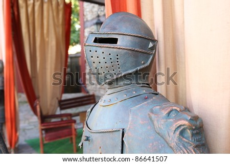 Armor of a medieval knight Armored Knight - stock photo