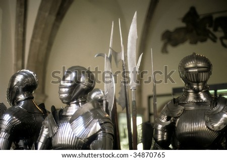 Armor of medieval knights on display in museum, 		Munich	Germany, Europe