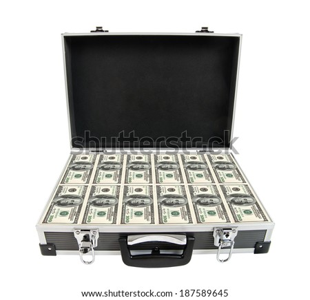 armored black case with cash money, on white background; isolated