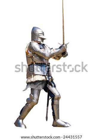 Armored knight in defensive position. White background.