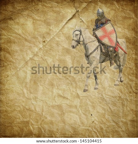 Armored knight on white warhorse - retro postcard on vintage paper background - stock photo