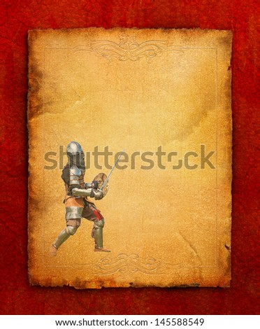Armored knight with sword and shield - retro postcard on portrait vintage paper background