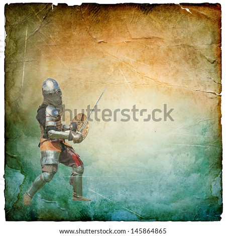 Armored knight with sword and shield - retro postcard on square vintage paper background - stock photo