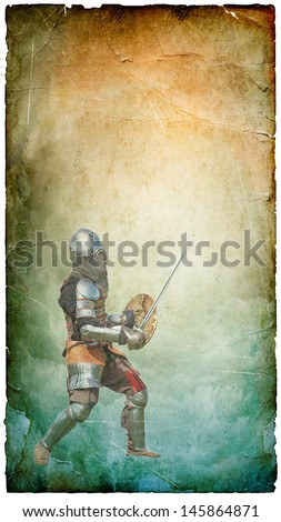 Armored knight with sword and shield - retro postcard on vertical vintage paper background - stock photo