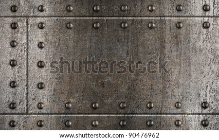 armour metal background with rivets - stock photo