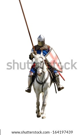 Armoured knight on white warhorse isolated on white - stock photo