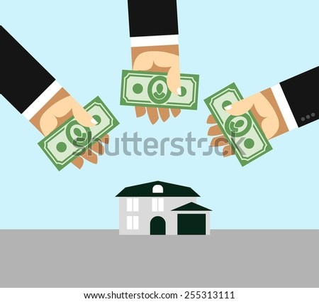 Arms and money. Buying a House. Selling a home. Business illustration - stock photo