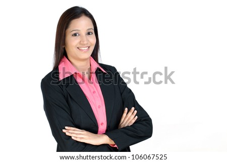 Arms crossed smiling Indian Business woman - stock photo