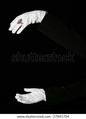 Arms in the dark room - stock photo