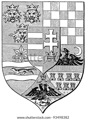 "Arms of the Hungarian Crown, (Austro-Hungarian Monarchy). Publication of the book ""Meyers Konversations-Lexikon"", Volume 7, Leipzig, Germany, 1910 - stock photo"