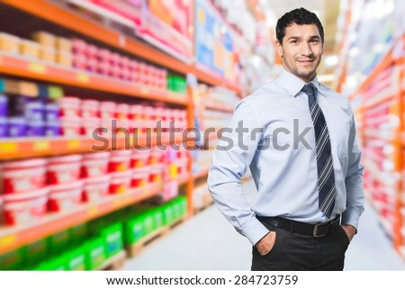 Arms outstretched, background people, box. - stock photo