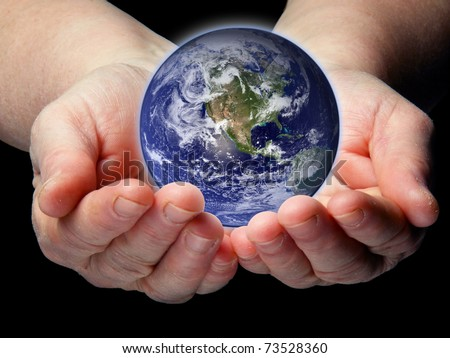 Arms with small Earth isolated - stock photo