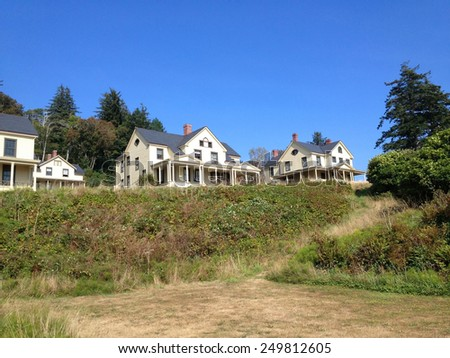 Army Barracks at Fort Columbia State Park Washington USA Overlooking Columbia River - stock photo