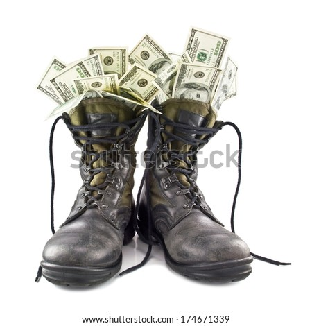 army boots full Dolar isolated on white background - stock photo