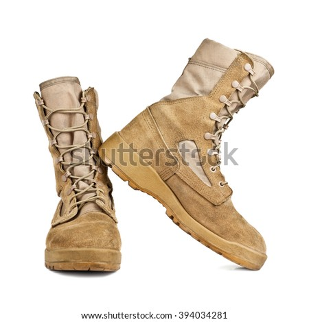 army boots in the desert coloring isolated on white background - stock photo