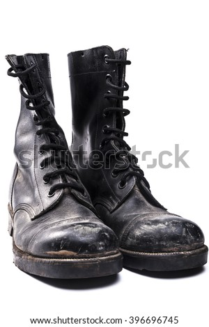 Army boots isolated on white background with shadow - stock photo